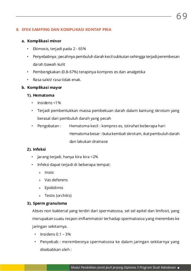 Modul Pendidikan Jarak Jauh Jenjang Diploma 3 Program Studi Kebidanan 69 8. Efek samping dan komplikasi kontap pria a. K...