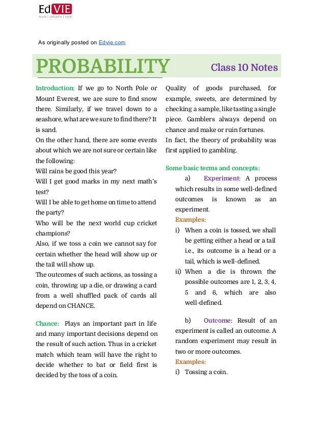 CBSE Class 10 Mathematics Probability Topic