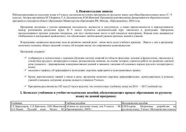 Рабочая программа по русскому языку класс Пояснительная записка Рабочая программа по русскому языку в 9 классе составлена на основе программы