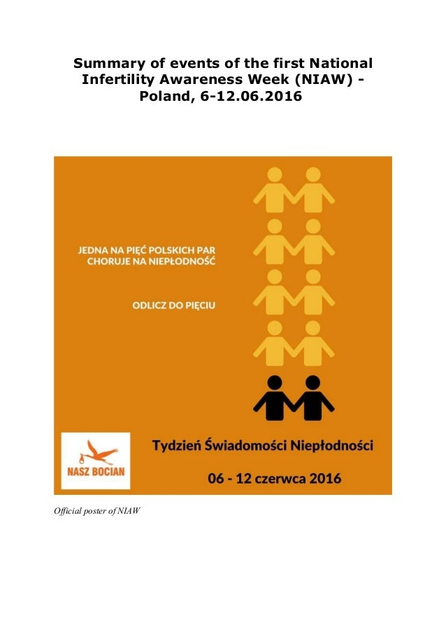 Summary of events of the first National Infertility Awareness Week (NIAW) - Poland, 6-12.06.2016 Official poster of NIAW