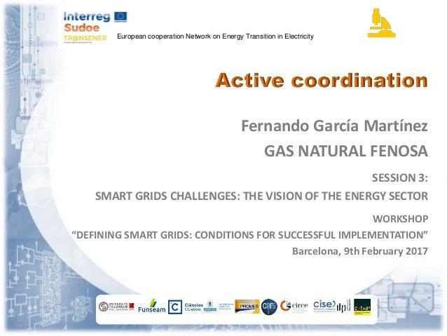 European cooperation Network on Energy Transition in Electricity Fernando García Martínez GAS NATURAL FENOSA SESSION 3: SM...