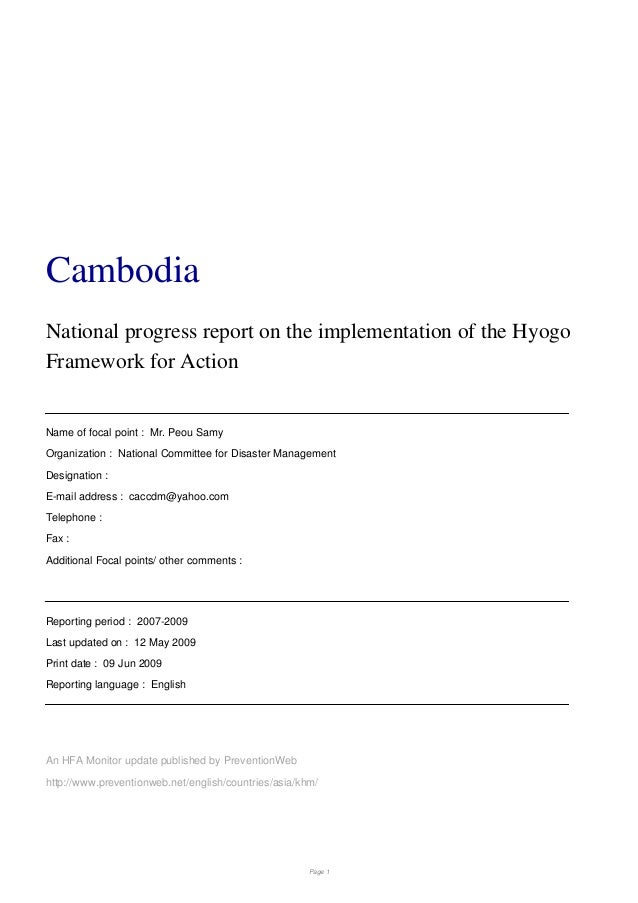 Cambodia national progress report on the implementation of