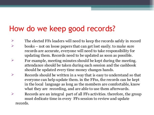 types of financial records in school