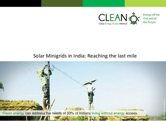 Solar Minigrids in India: Reaching the last mile