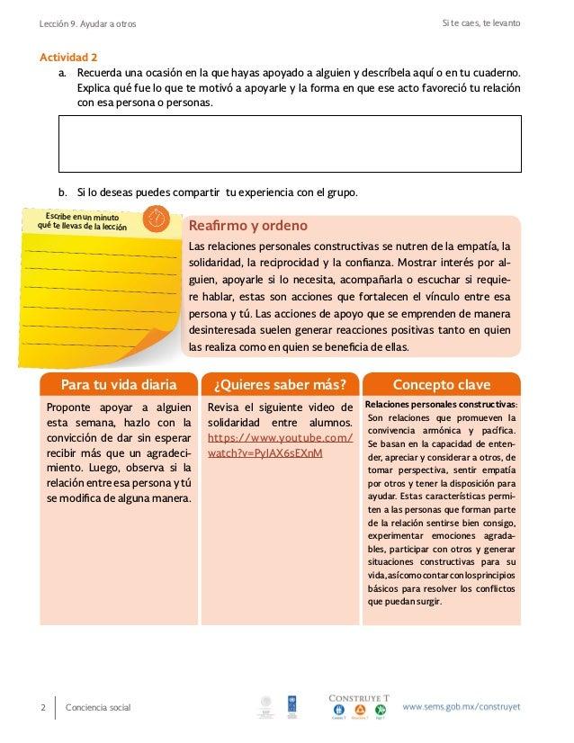 Si te caes, te levantoLección 9. Ayudar a otros Conciencia social2 Reafirmo y ordeno Las relaciones personales constructiv...