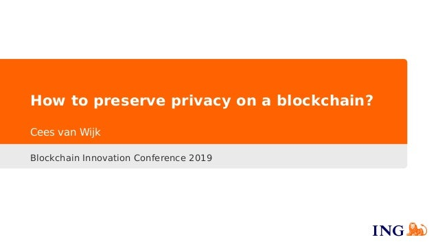 How to preserve privacy on a blockchain? Blockchain Innovation Conference 2019 Cees van Wijk