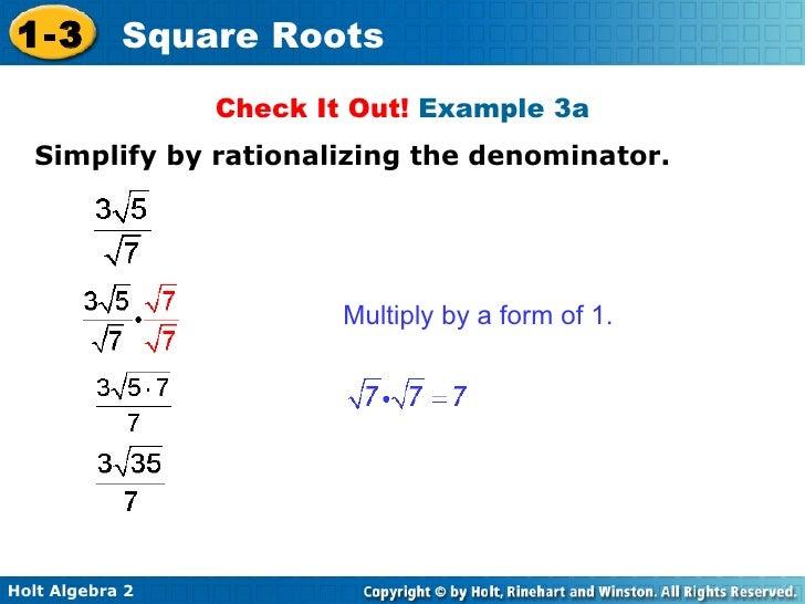 algebra 2. 9.19 simplifying square roots