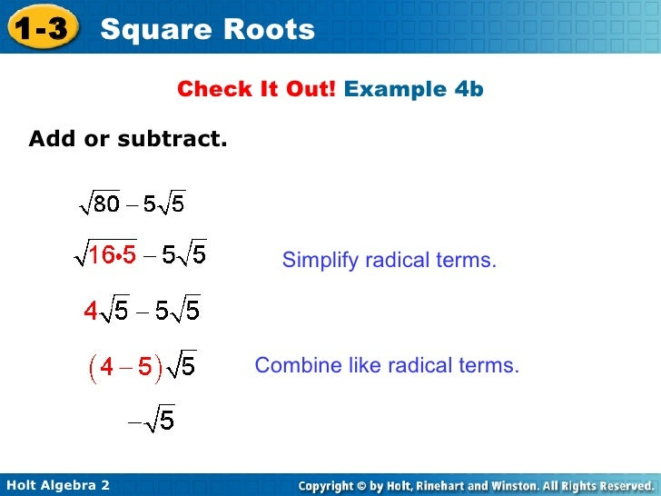 And Subtracting Square Roots Worksheet - humorholics