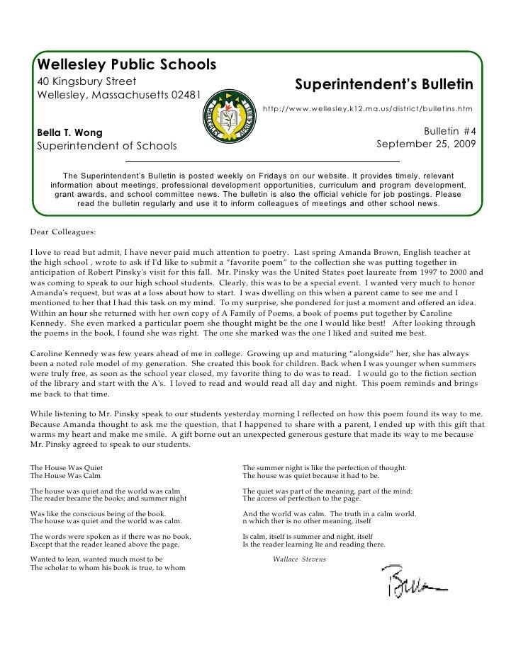 Wellesley Public Schools  40 Kingsbury Street                                                     Superintendent's Bulleti...