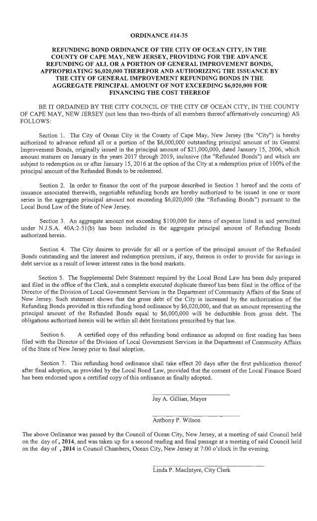 Ocean City Council agenda Sept. 25, 2014