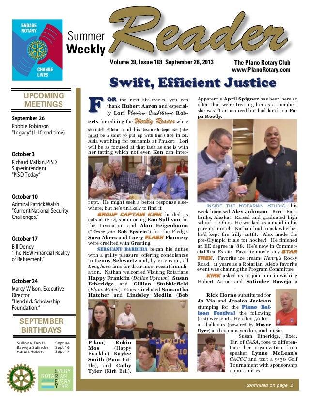 UPCOMING MEETINGS SEPTEMBER BIRTHDAYS ReaderSummer The Plano Rotary Club www.PlanoRotary.com Volume 39, Issue 103 Septembe...