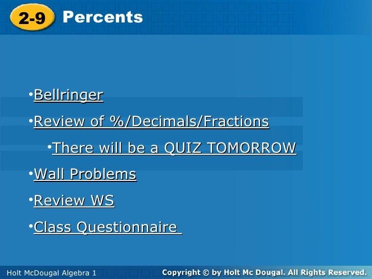 Algebra 1. Percent.decimals review