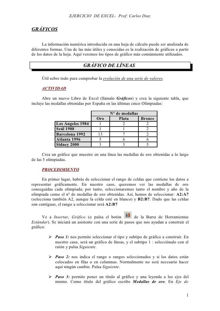 EJERCICIO DE EXCEL- Prof: Carlos DiazGRÁFICOS      La información numérica introducida en una hoja de cálculo puede ser an...