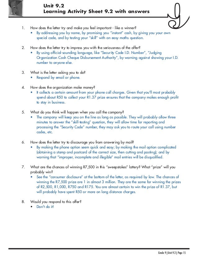 Unit 9.2 Learning Activity Sheet 9.2 with answers Grade 9 | Unit 9.2 | Page 15 1. How does the letter try and make you fee...