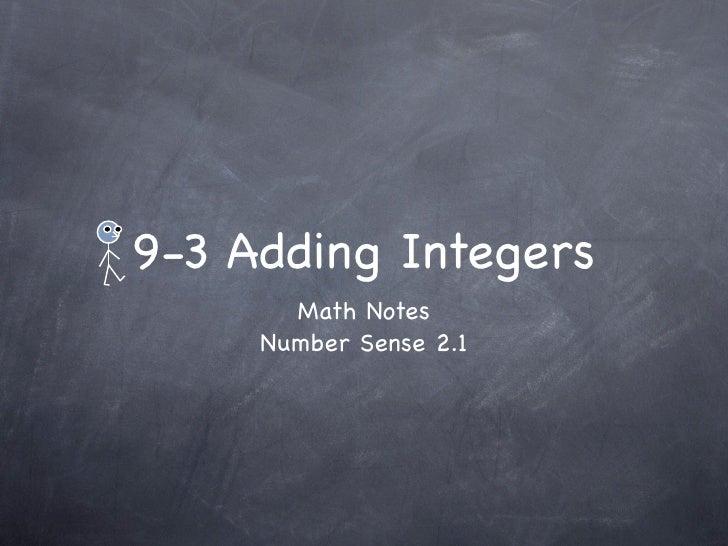 9-3 Adding Integers        Math Notes      Number Sense 2.1