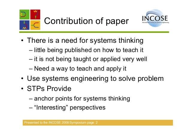 Applying systems thinking & aligning it to systems engineering Slide 2