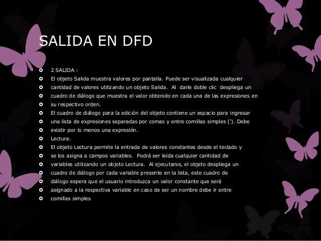 SALIDA EN DFD   2 SALIDA :   El objeto Salida muestra valores por pantalla. Puede ser visualizada cualquier   cantidad ...