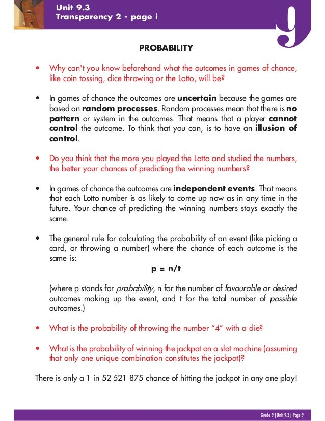 PROBABILITY • Why can't you know beforehand what the outcomes in games of chance, like coin tossing, dice throwing or the ...