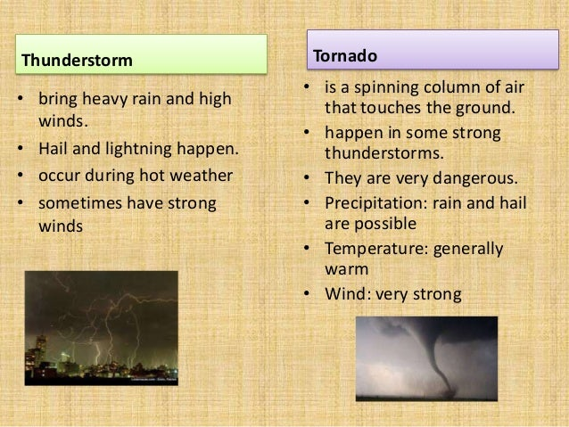 Thunderstorm• bring heavy rain and highwinds.• Hail and lightning happen.• occur during hot weather• sometimes have strong...