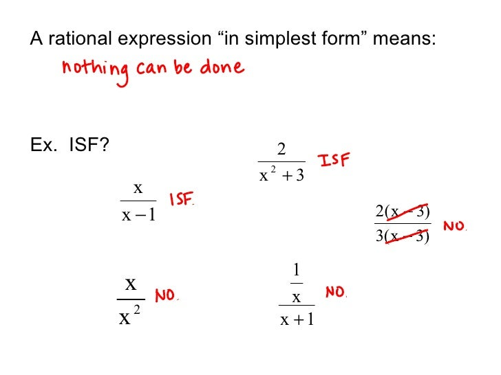 9.4 Simplifying Rational Expressions