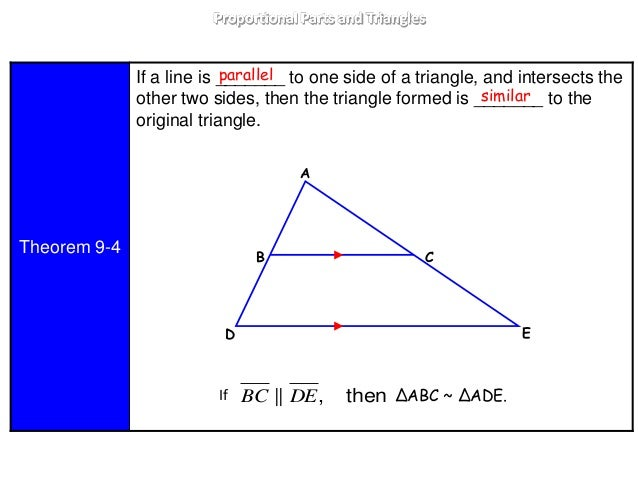 9 4 proportional parts and triangles lesson