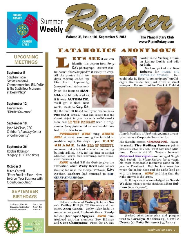UPCOMING MEETINGS SEPTEMBER BIRTHDAYS ReaderSummer The Plano Rotary Club www.PlanoRotary.com Volume 36, Issue 100 Septembe...