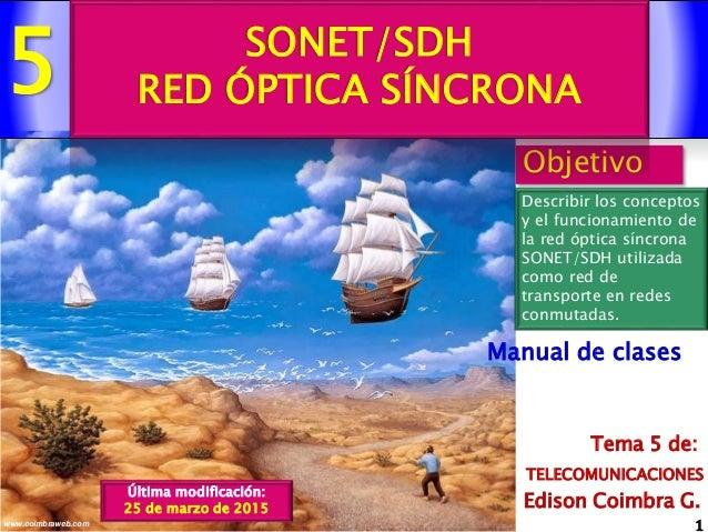 5 1www.coimbraweb.com Edison Coimbra G. TELECOMUNICACIONES Tema 5 de: Manual de clases Objetivo Describir los conceptos y ...