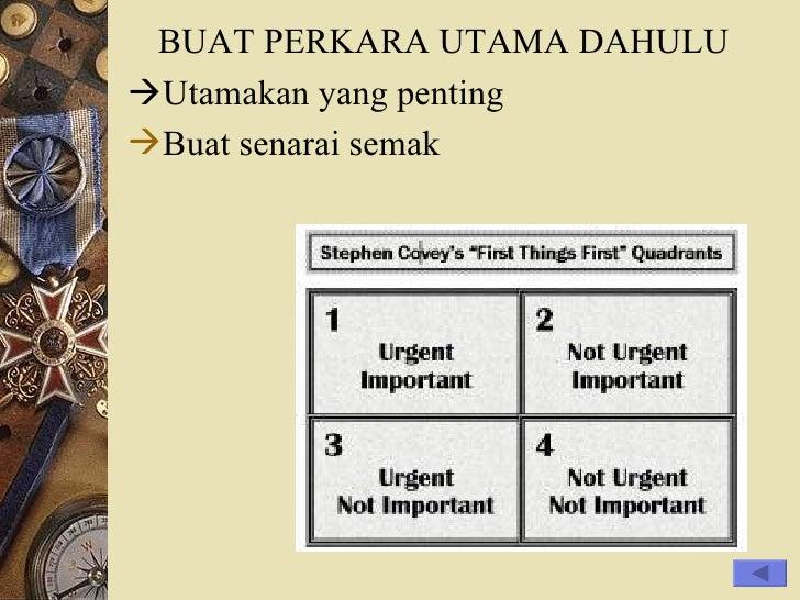 <ul><li>BUAT PERKARA UTAMA DAHULU </li></ul><ul><li> Utamakan yang penting </li></ul><ul><li>Buat senarai semak </li></ul>