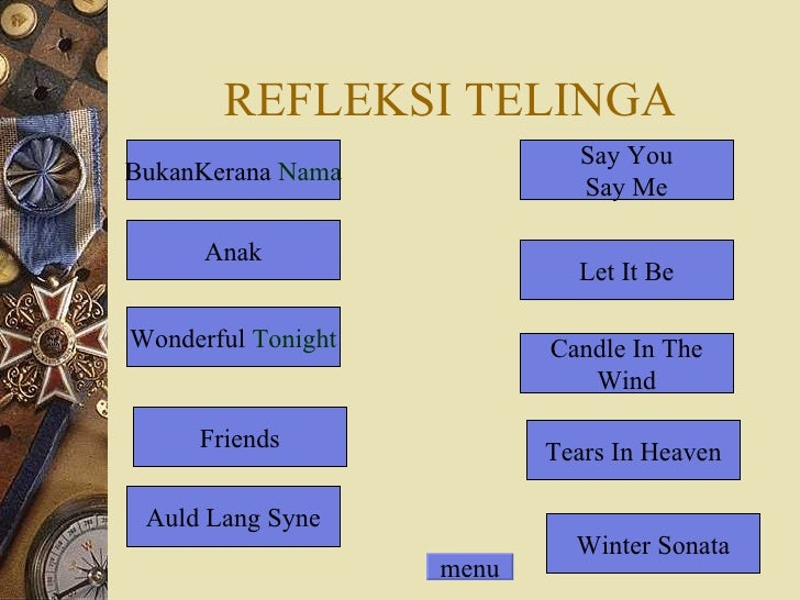 REFLEKSI TELINGA BukanKerana  Nama Tears In Heaven Let It Be Candle In The Wind Say You Say Me Friends Auld Lang Syne Anak...