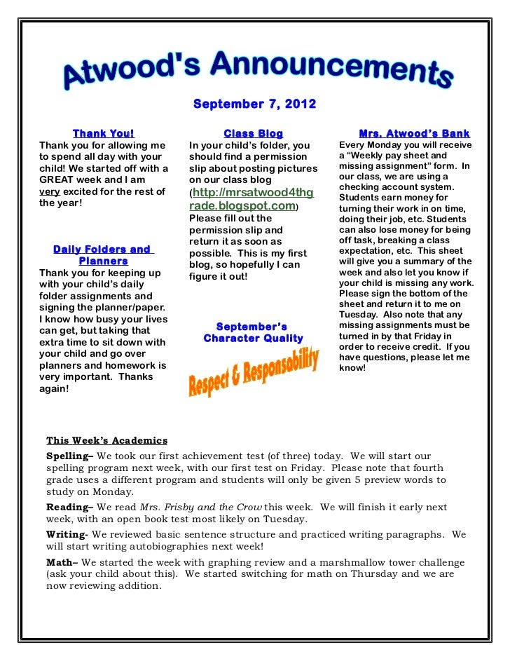 September 7, 2012       Thank You!                      Class Blog                Mrs. Atwood ' s BankThank you for allowi...