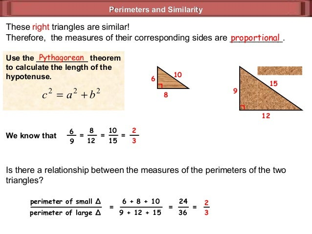 relationship between perimeters of similar triangles and indirect