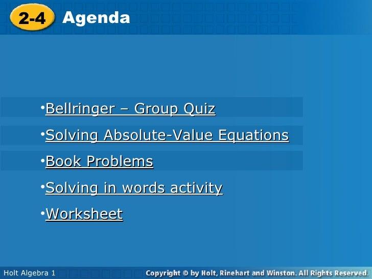 Algebra 1. 9.7 Lesson. Absolute Value
