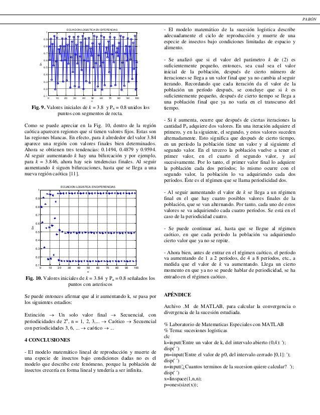 Fig. 9. Valores iniciales de k = 3.8 y Pn = 0.8 unidos los puntos con segmentos de recta. Como se puede apreciar en la Fig...