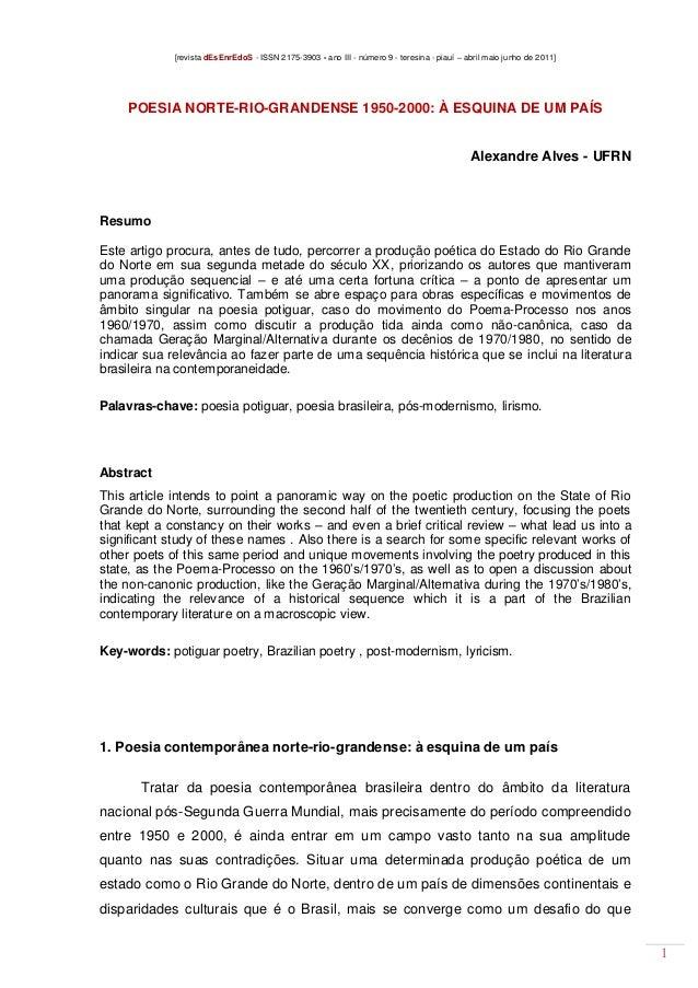 [revista dEsEnrEdoS - ISSN 2175-3903 - ano III - número 9 - teresina - piauí – abril maio junho de 2011]  POESIA NORTE-RIO...