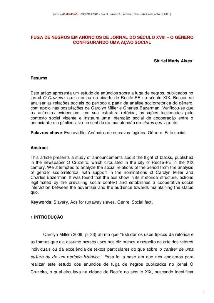 [revista dEsEnrEdoS - ISSN 2175-3903 - ano III - número 9 - teresina - piauí – abril maio junho de 2011]FUGA DE NEGROS EM ...