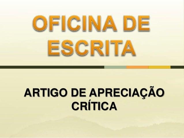 ARTIGO DE APRECIAÇÃO CRÍTICA