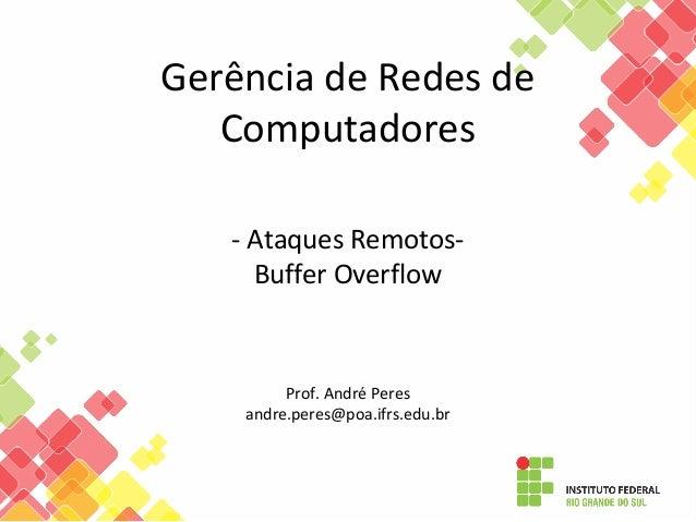 Gerência de Redes de Computadores - Ataques Remotos- Buffer Overflow Prof. André Peres andre.peres@poa.ifrs.edu.br