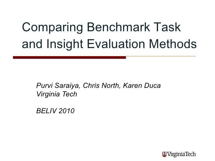 Comparing Benchmark Task and Insight Evaluation Methods  Purvi Saraiya, Chris North, Karen Duca Virginia Tech BELIV 2010