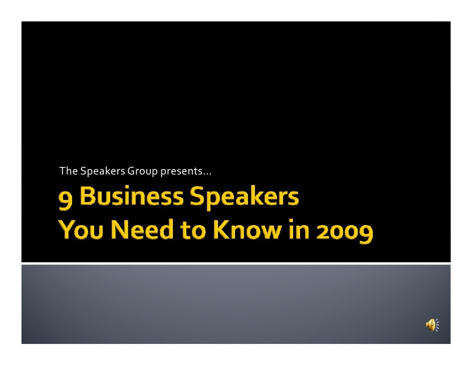 The Speakers Group presents…