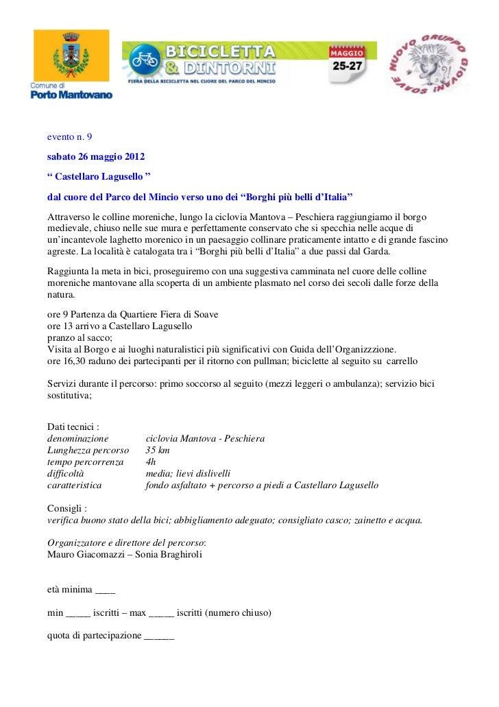 """evento n. 9sabato 26 maggio 2012"""" Castellaro Lagusello """"dal cuore del Parco del Mincio verso uno dei """"Borghi più belli d'I..."""