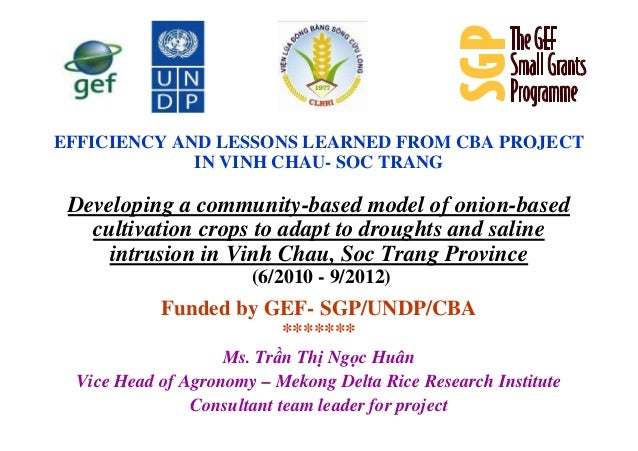 EFFICIENCY AND LESSONS LEARNED FROM CBA PROJECTIN VINH CHAU- SOC TRANGDeveloping a community-based model of onion-basedcul...