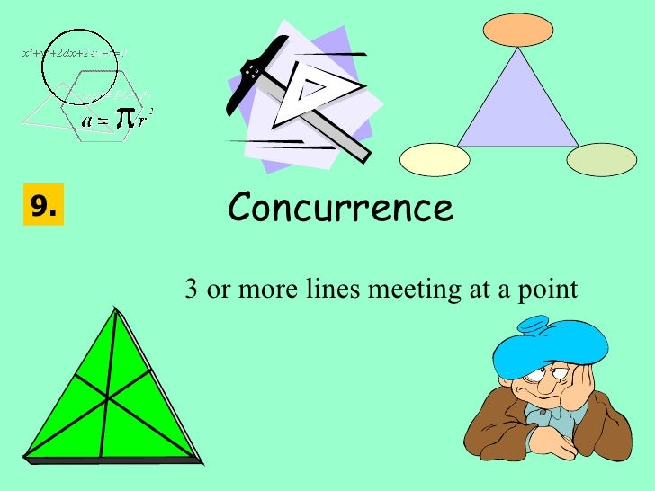 Concurrence 3 or more lines meeting at a point 9.