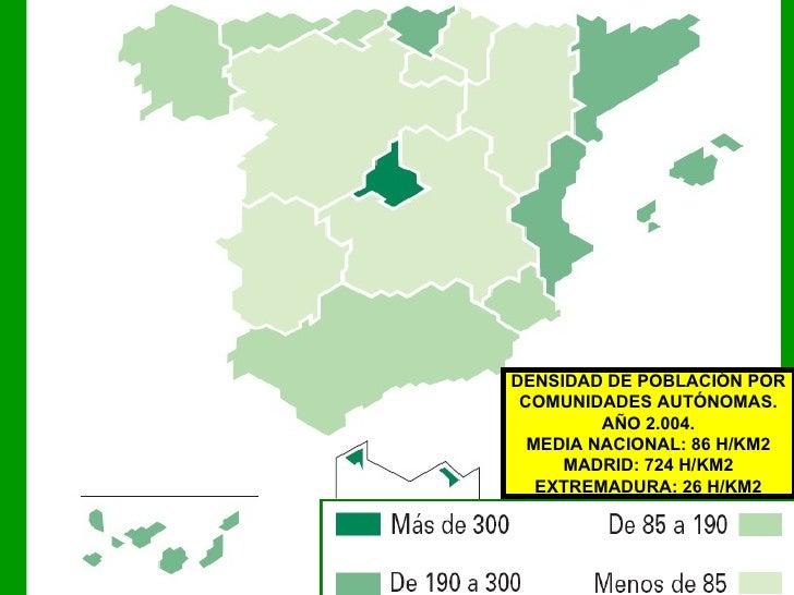 DENSIDAD DE POBLACIÓN POR COMUNIDADES AUTÓNOMAS. AÑO 2.004. MEDIA NACIONAL: 86 H/KM2 MADRID: 724 H/KM2 EXTREMADURA: 26 H/KM2