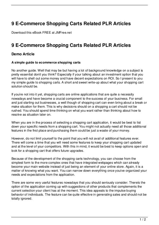 9 E-Commerce Shopping Carts Related PLR ArticlesDownload this eBook FREE at JMFree.net9 E-Commerce Shopping Carts Related ...