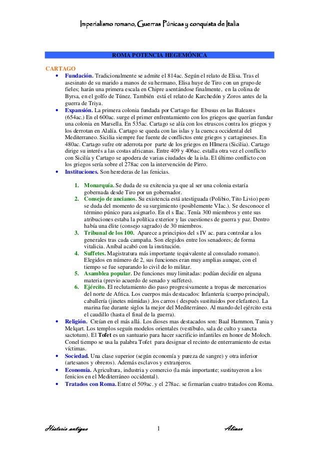 Imperialismo romano, GuImperialismo romano, GuImperialismo romano, GuImperialismo romano, Guerras Púnicas y conquista de I...
