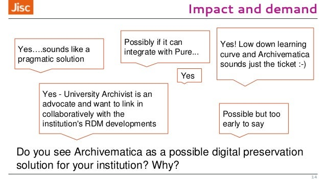 Impact and demand 14 Yes….sounds like a pragmatic solution Yes! Low down learning curve and Archivematica sounds just the ...