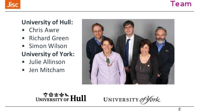 Team 2 University of Hull: • Chris Awre • Richard Green • Simon Wilson University of York: • Julie Allinson • Jen Mitcham