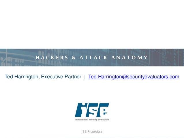 ISE Proprietary H A C K E R S & A T T A C K A N A T O M Y Ted Harrington, Executive Partner | Ted.Harrington@securityevalu...