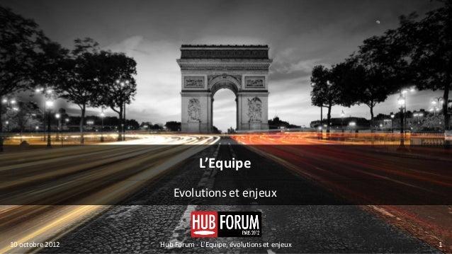 L'Equipe                      Evolutions et enjeux10 octobre 2012   Hub Forum - LEquipe, évolutions et enjeux   1