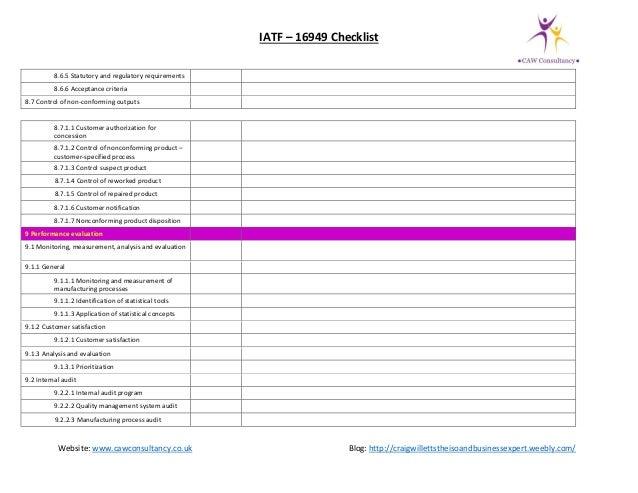 IATF 16949 gap assessment checklist